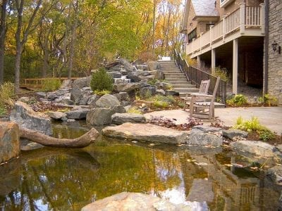 Large stream and pond next to home in colorado springs