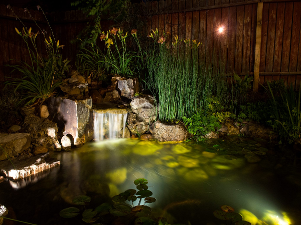 Pond with LED lighting as part of a outdoor living project in Vista Grande