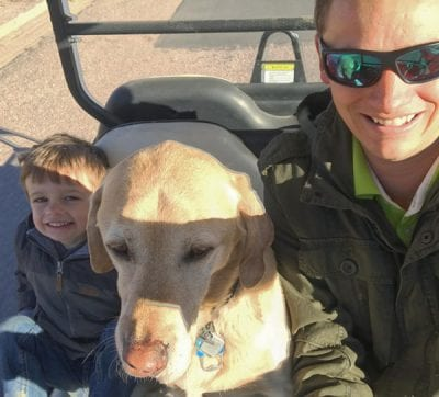 Matt Hiner, his son, and their dog