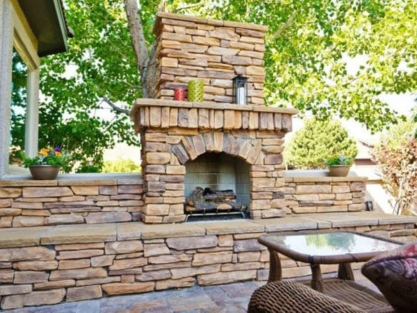 Closeup of fireplace in an outdoor living room