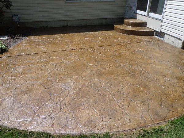 Stamped concrete patio stained