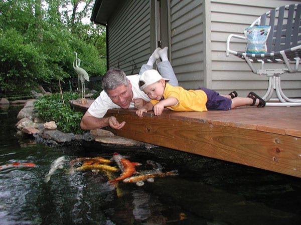 Father and son spending time together around a koi pond worth the cost of a koi pond