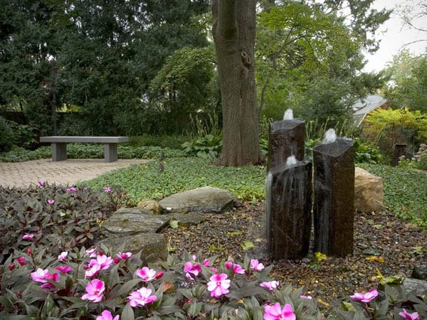 3 basalt fountains in a natural area